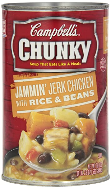 Campbells Chunky Soup, Jammin Jerk Chicken with Rice & Beans, 18.8 Ounce (
