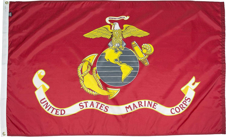 FlagSource U.S. Marine Corps Nylon Military Flag, Made in The USA, 2x3'