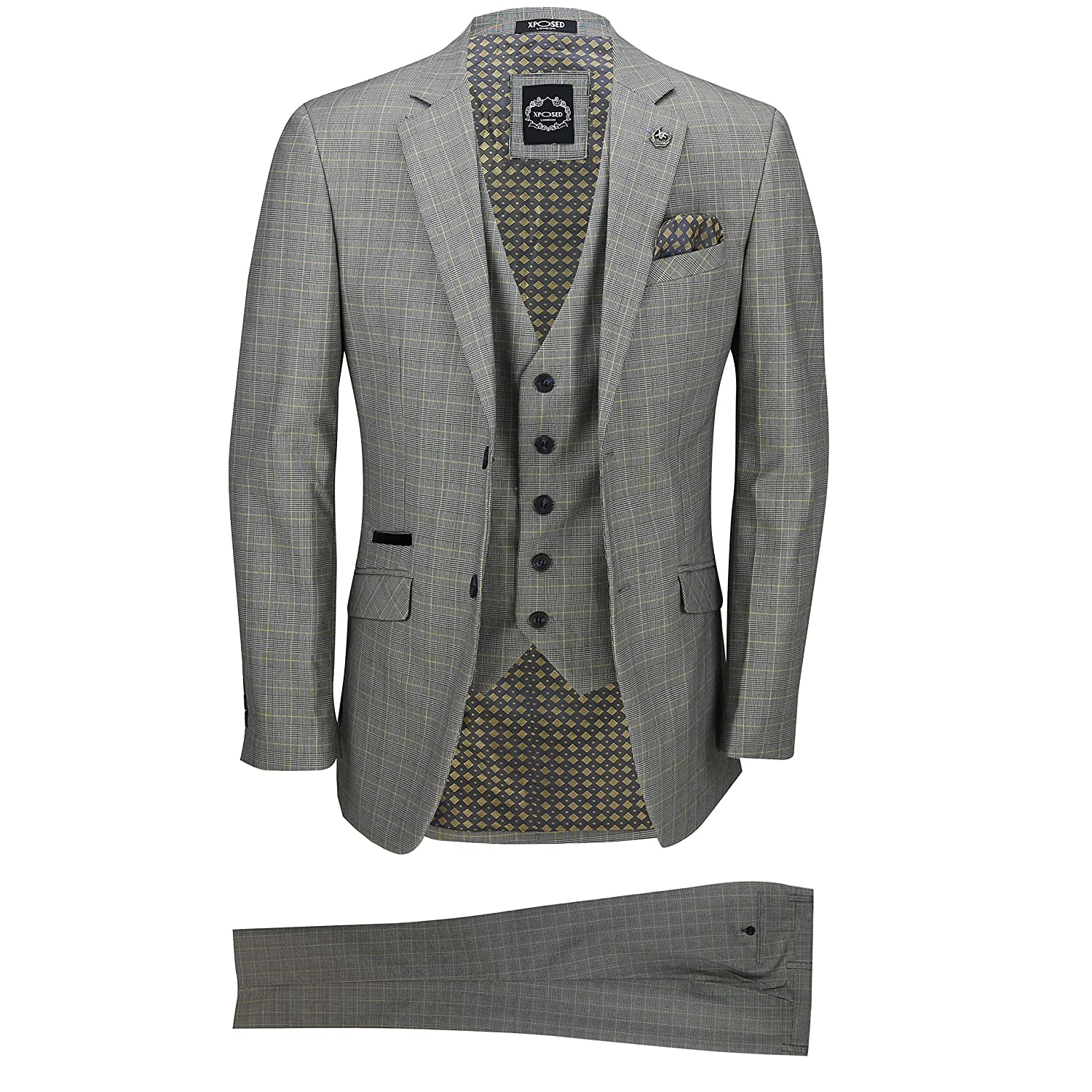 Xposed Mens 3 Piece Tailored Fit Yellow Grey Prince of Wales Check Smart Formal Retro Vintage Suit