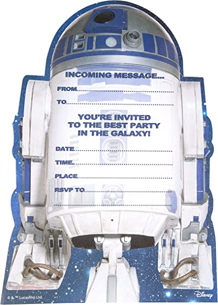 Amazon.com: Star Wars R2-D2 invitaciones a fiesta (Pack de ...
