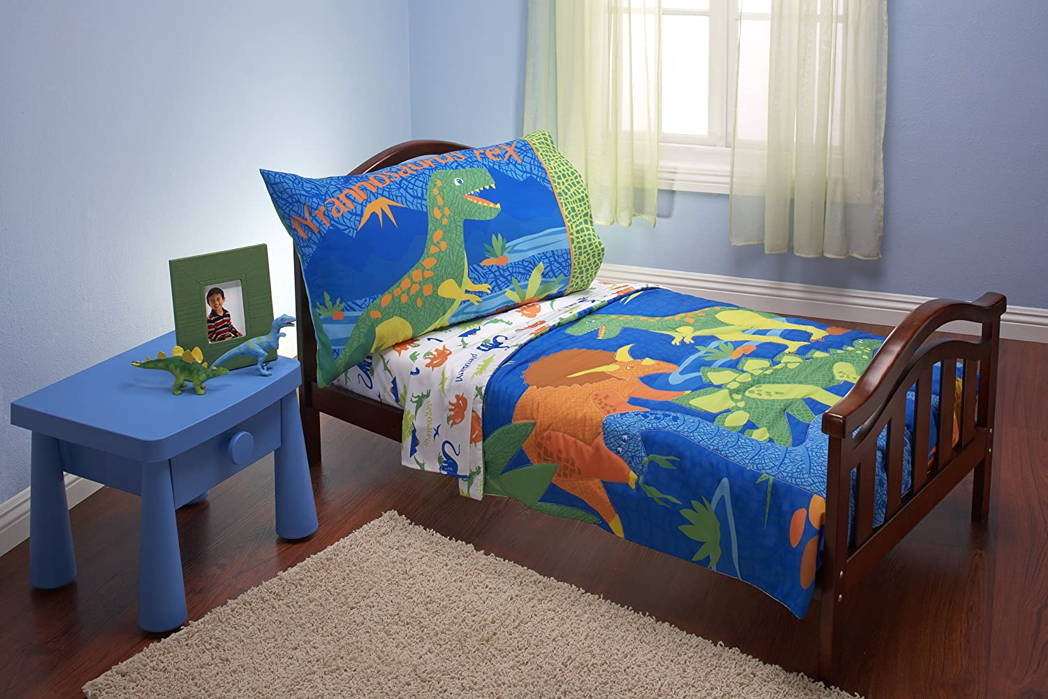 Amazon.com : Everything Kids 4 Piece Toddler Bedding Set, Dinosaurs :  Toddler Bed Sheets Boy : Baby