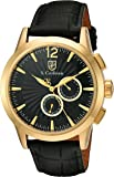 S.Coifman Men's Quartz Watch with Black Dial Chronograph Display and Black Leather Strap SC0263