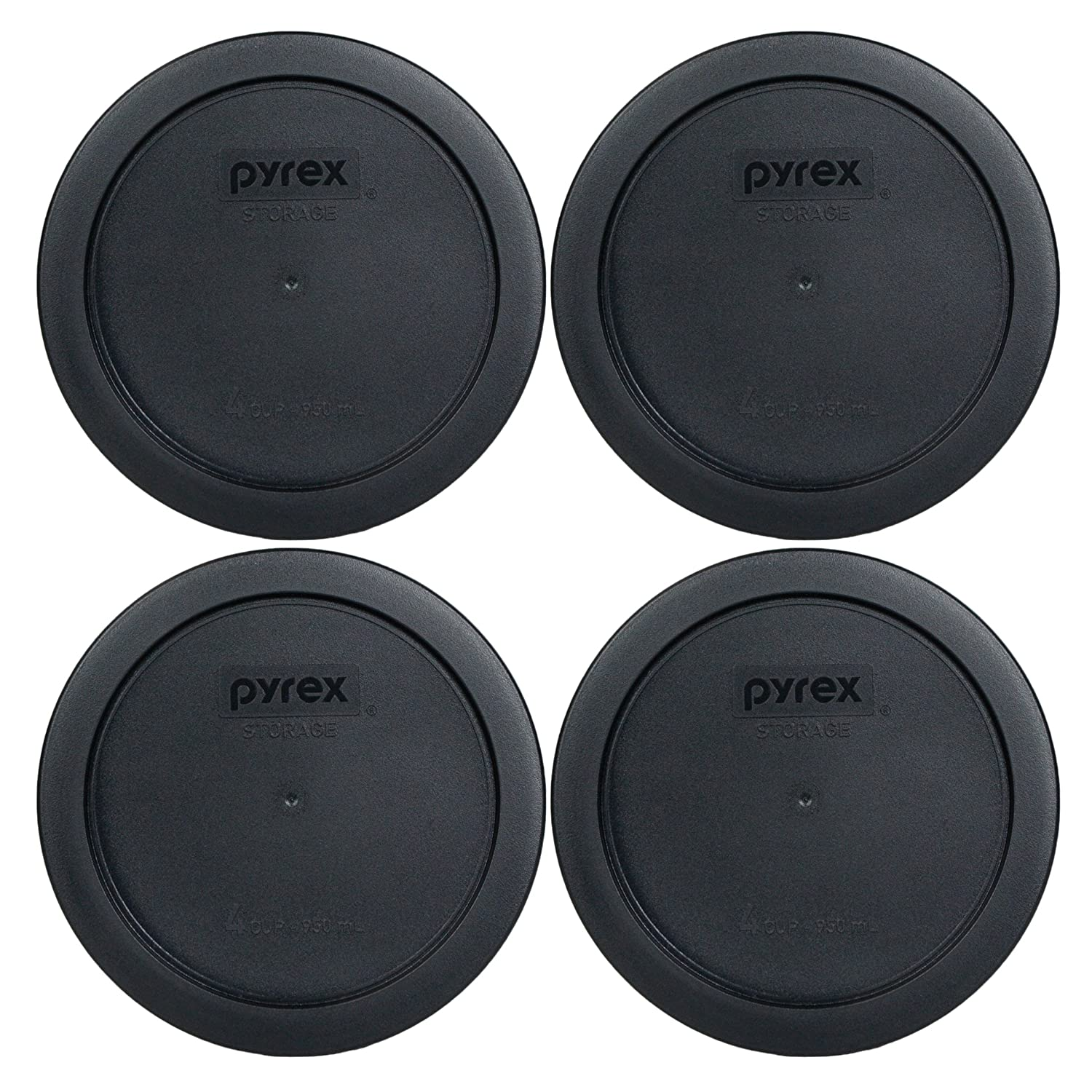 Pyrex 7201-PC 4 Cup Round Storage Cover for Glass Bowls (4, Black)