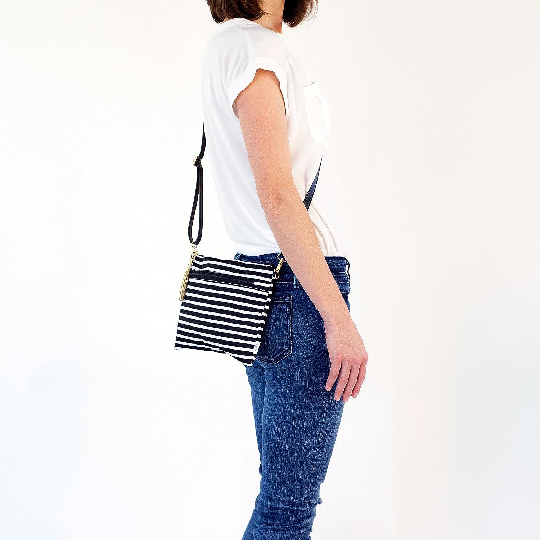 Logan + Lenora konvertibel koppling – vattentät resepack med avtagbar axelrem Black & White Stripe