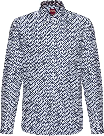Merc Jubilee, camisa de manga larga con estampado de hojas y cuello abotonado, color blanco roto, tamaño mediano: Amazon.es: Ropa y accesorios