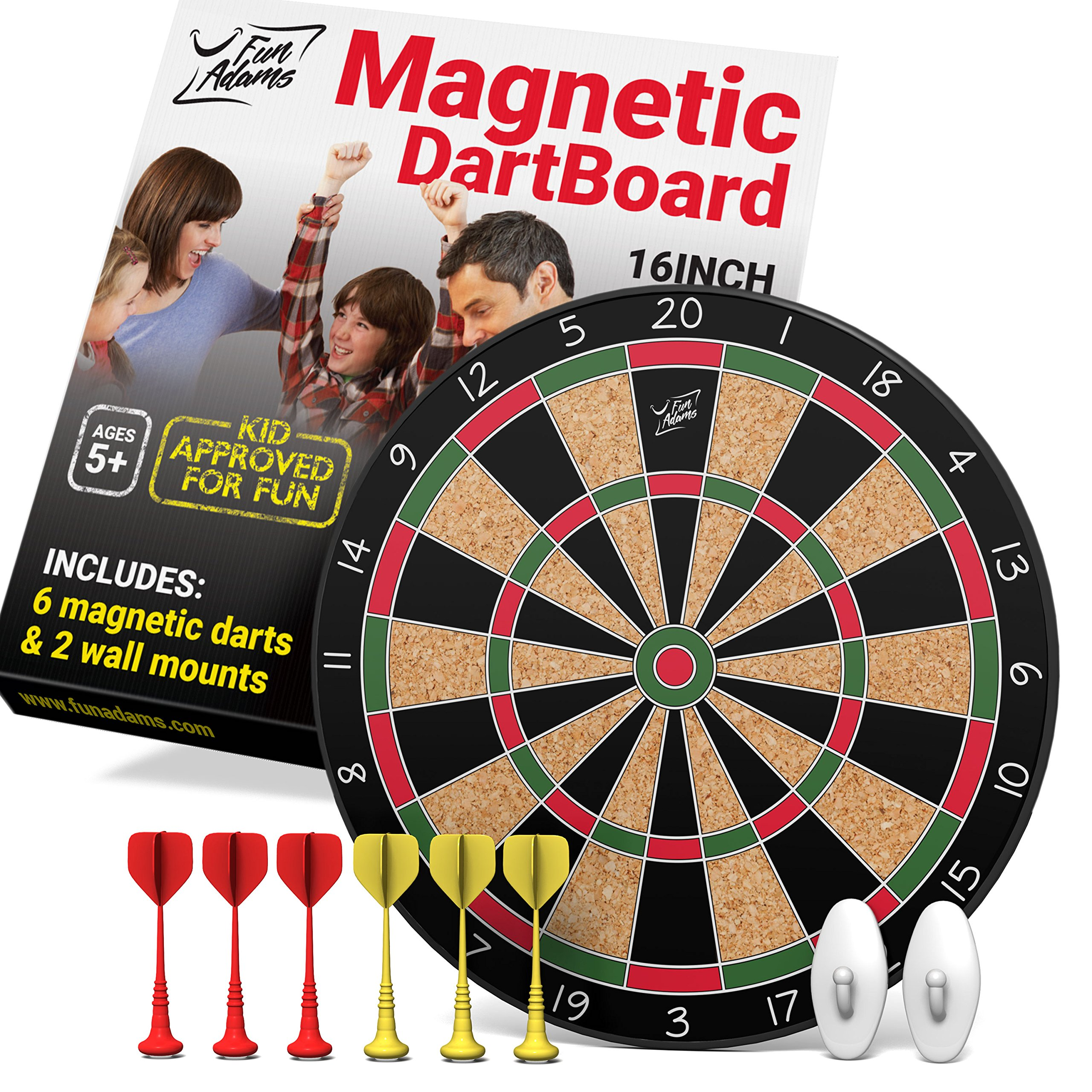 Fun Adams Magnetic Dartboard 16 inch with Safe Precision Darts, Best Gift for Boys & Girls, Great Classic Game the Whole Family can Enjoy - Play in Teams or Solo, Simple & Easy to Install by Fun Adams (Image #1)