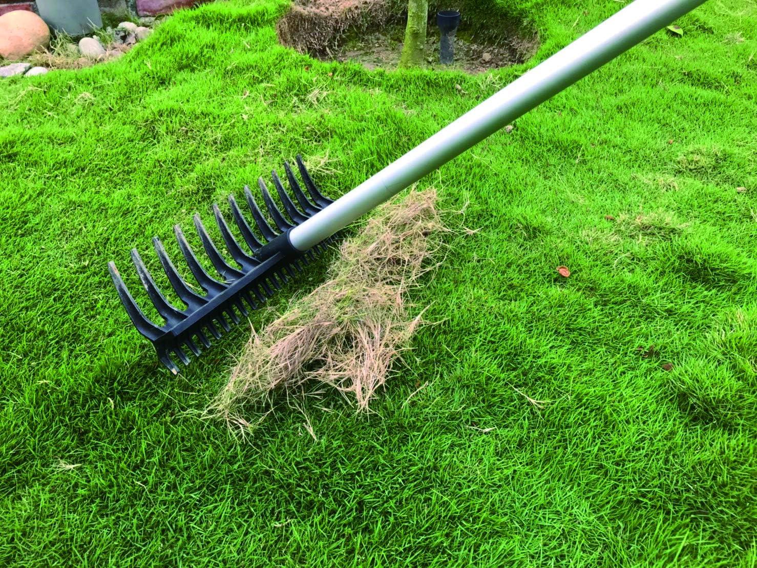 Rasenrechen Kunststoff zu 100/% Recycled I Harke mit feiner und grober Seite I Laubrechen geniales Gartenwerkzeug kann beides FairFox 2-in-1 Rechen 16 Zinken mit Teleskopgriff I Umweltfreundlich