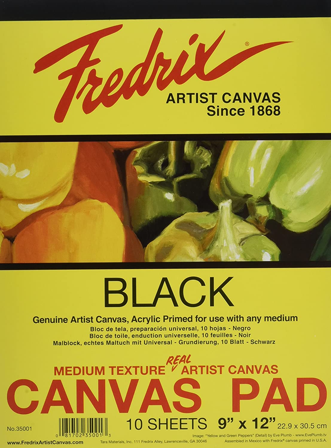 Fredrix 35001 Black Canvas Pad, 10 Sheets, 9 By 12 Inches Tara® T35001