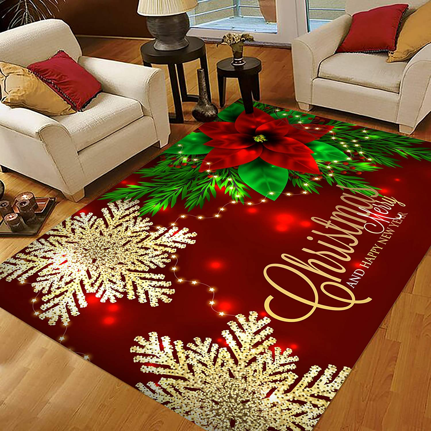 Amazon Com Christmas Area Rugs Area Rugs 5x7 For Living Room Bedroom Home Decorative Christmas Poinsettia And Snowflakes 1 Kitchen Dining