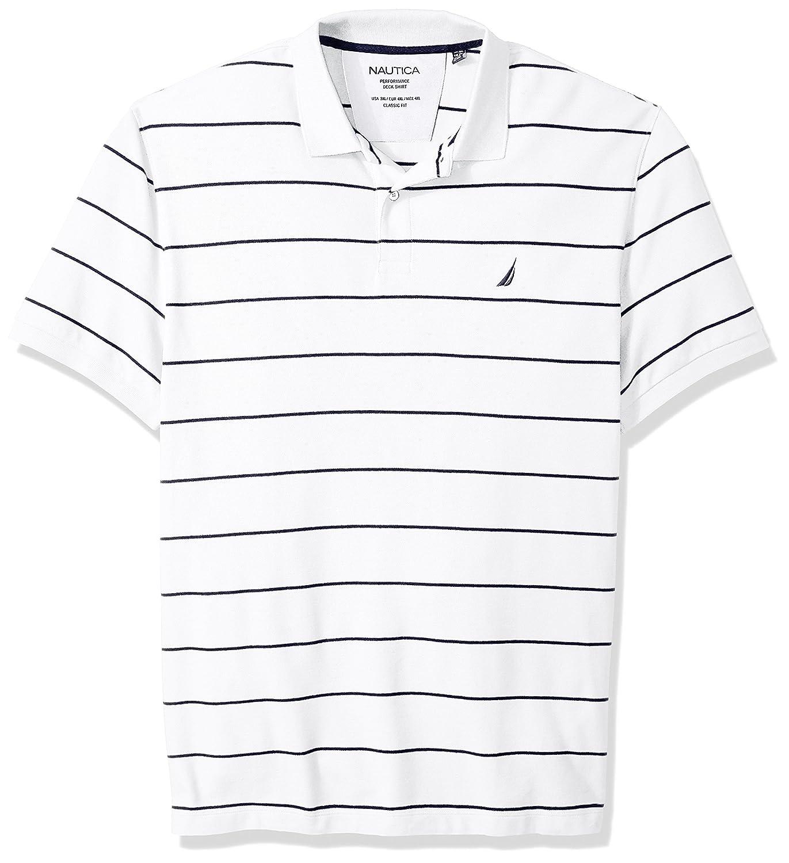 Nautica Mens Big and Tall Classic Short Sleeve Striped Polo Shirt