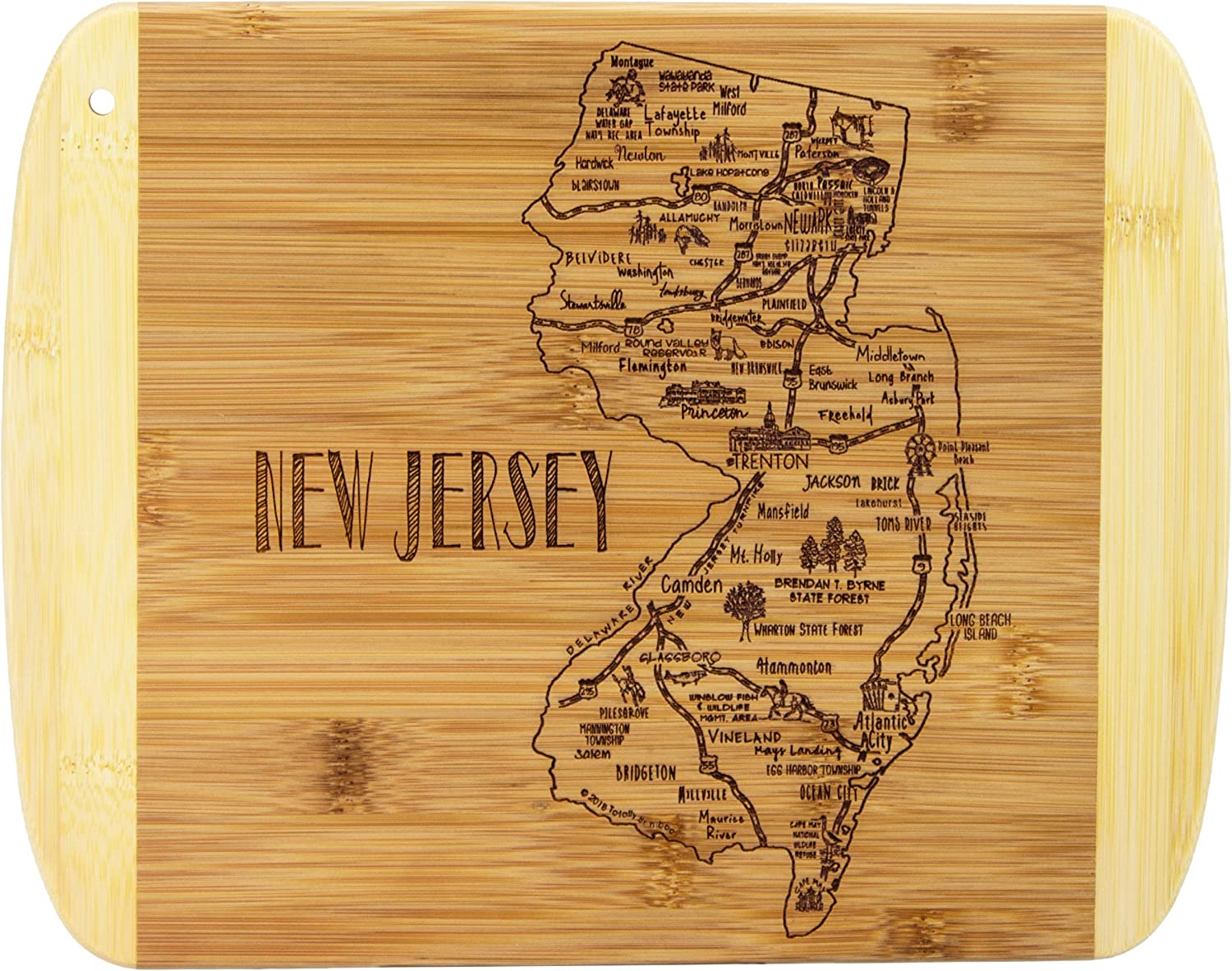 Totally Bamboo A Slice of Life New Jersey Bamboo Serving and Cutting Board