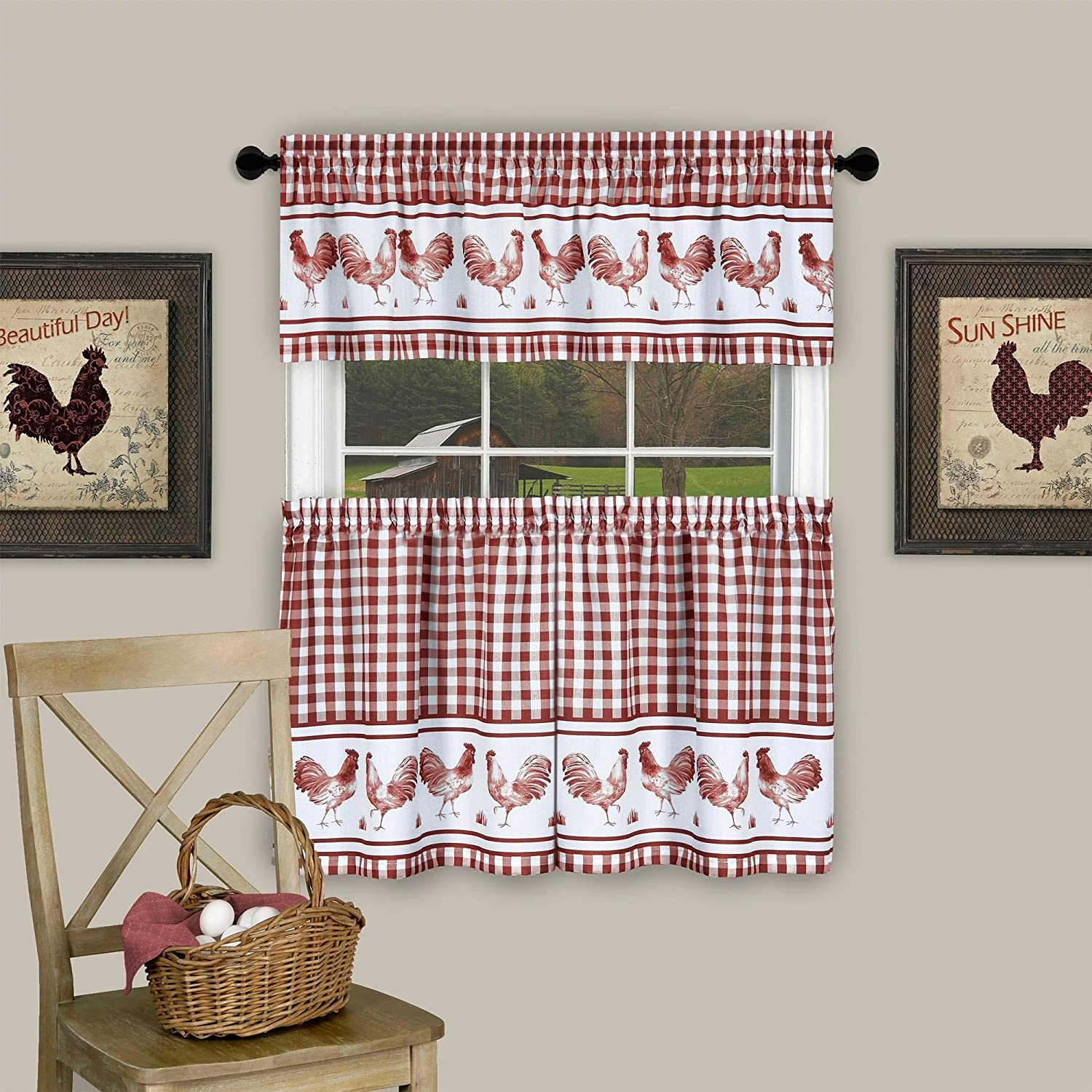 """Sweet Home Collection 3 Piece Kitchen Curtain Barnyard Rooster Design Pair and Valance, 24"""" Tier Set, Burgundy"""