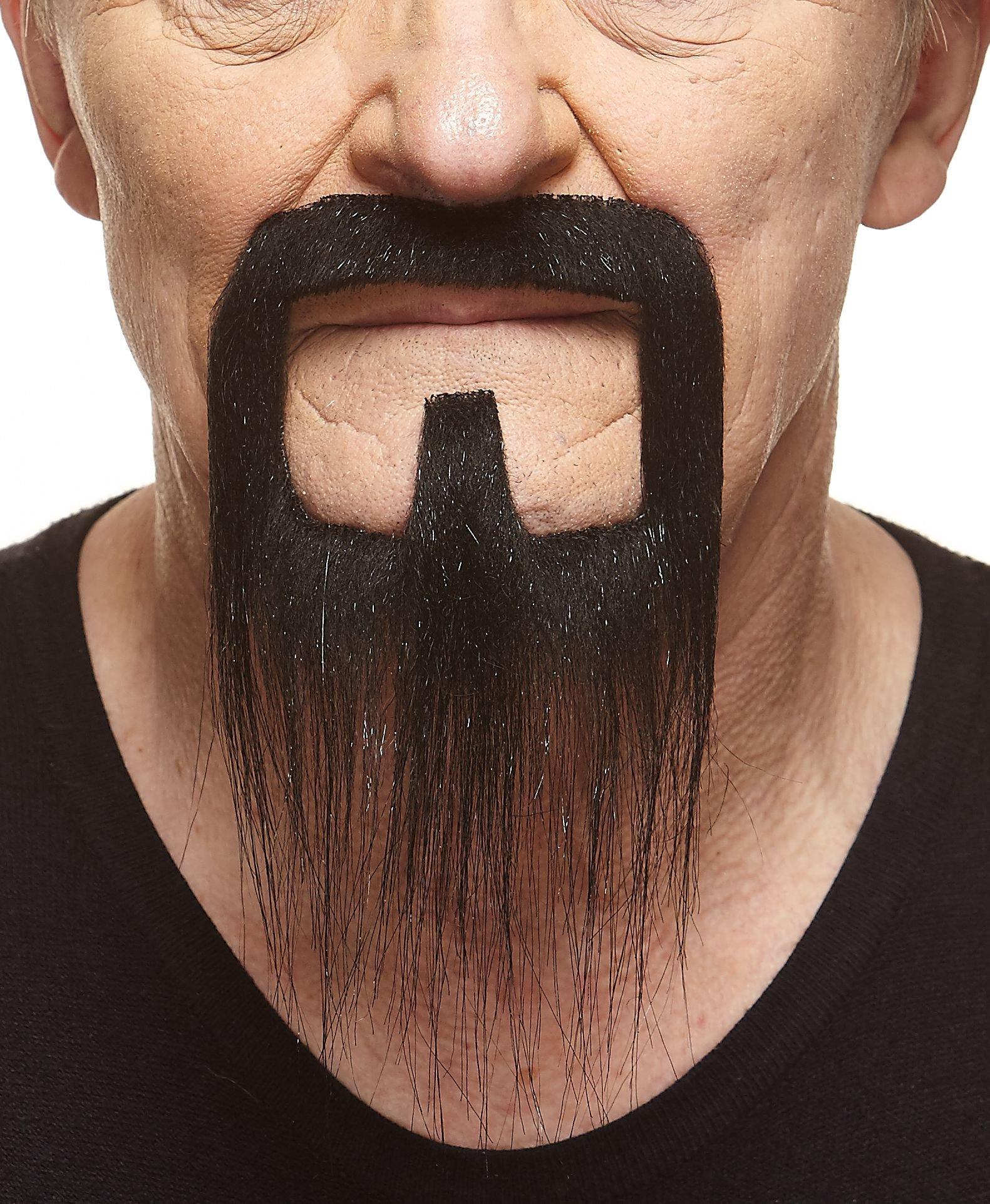 Mustaches Self Adhesive, Novelty, Long Van Dyke Fake Beard, False Facial Hair, Costume Accessory for Adults, Black Color