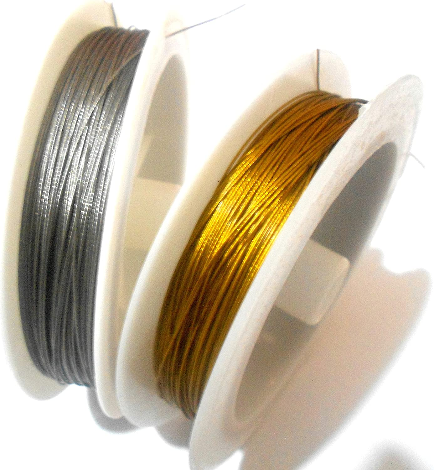 1 x 10m Steel Gold Tiger Tail Beading Wire 0.45mm Craft Jewellery Making