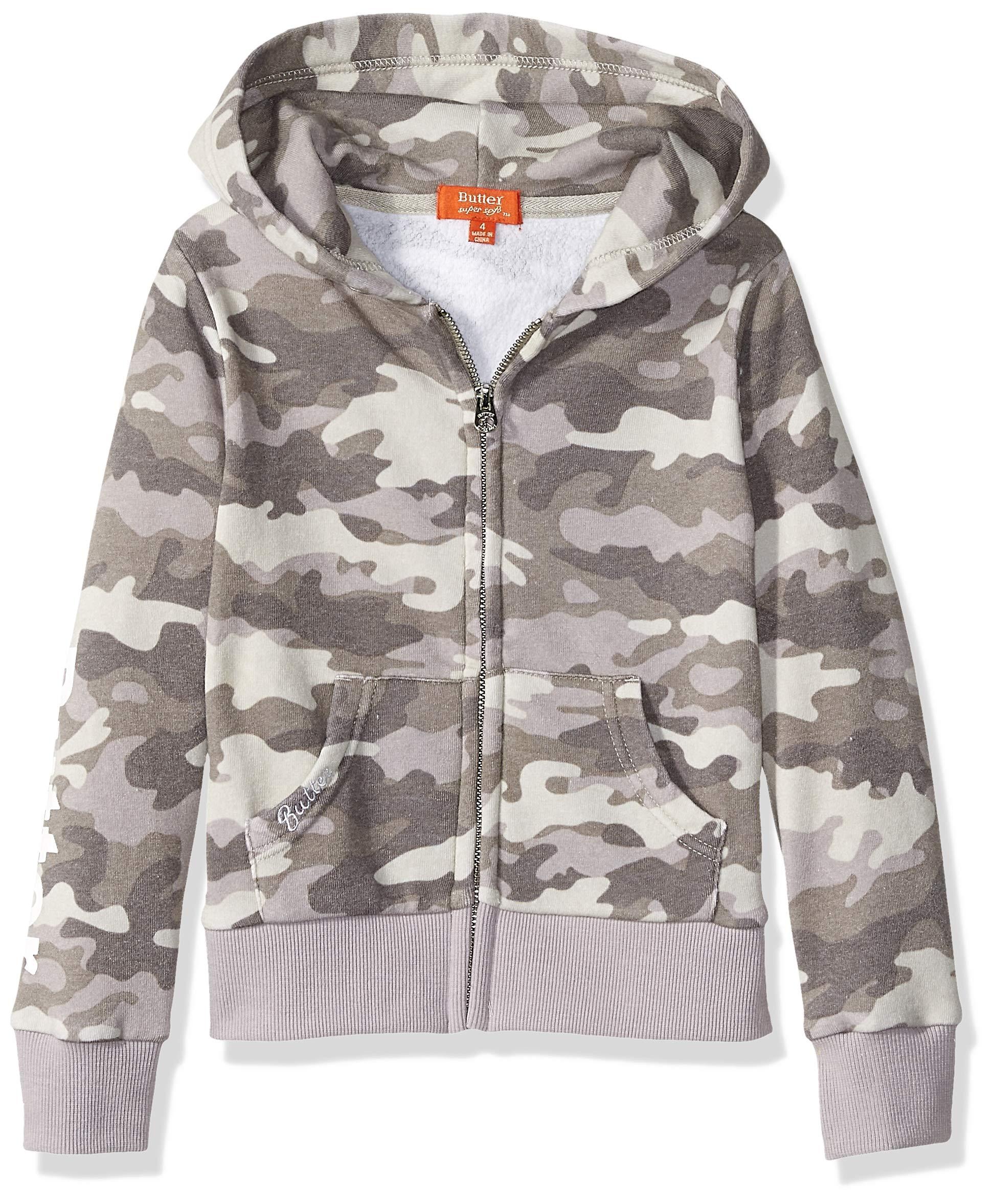 Butter Girls' Big Printed Fleece Zip Up Hoodie, Grey Camo, XL