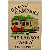 Happy Campers Personalized Camping Themed Flag with 3 Lines of Custom Text, Tan Travel Trailer with Black Windows on Tan…