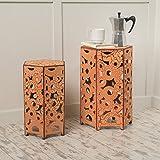 (Set of 2) Utica Antique Style Orange Accent Table