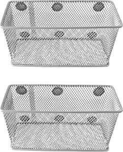 Magnetic Basket Set of 2 by GoSupplyWise - Mesh Organizer and Holder on White Board for Dry Erase Markers or in Locker - Magnet Shelves on Refrigerator - Pen Holder or Desk Storage for Office - Silver