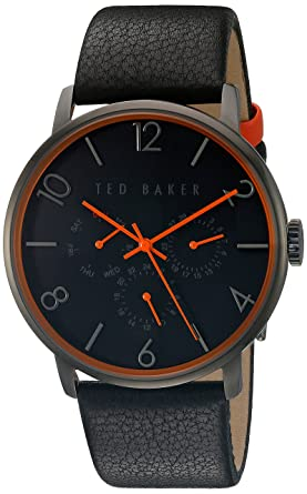 471846e6b50 Ted Baker Mens Black Leather Strap Black Dial TE10029566  Amazon.co ...
