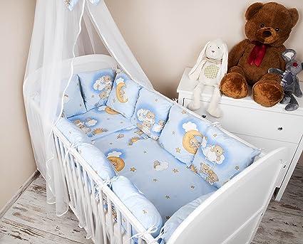 AMI Lian® bebé Cuna Cama umrandung 420 cm Diseño: Oso en la escalera azul