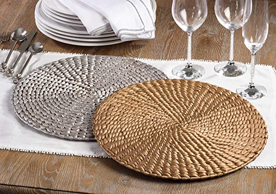 Set of 4 SARO LIFESTYLE Natural Water Hyacinth Round Hand Woven Rattan Placemat 15 Gold 15 Gold 1404.GL15R