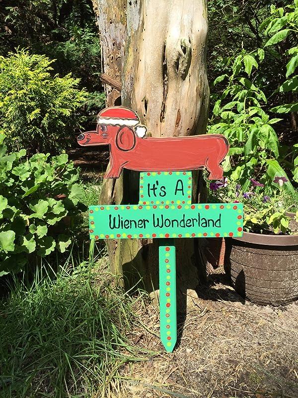 Wiener Wonderland dachshund doxie wiener dog sign lawn stake yard art