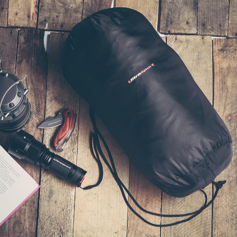 Ultrasport Saco de dormir, saco de dormir momia adecuado para temperaturas entre +10 °C y -8 °C, saco de dormir de viaje de materiales de alta calidad y de ...