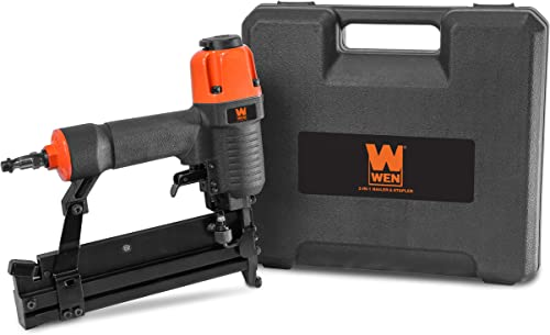 WEN 61718 18 Gauge 2 2-in-1 Pneumatic Brad Nailer Stapler with Carrying Case Safety Glasses