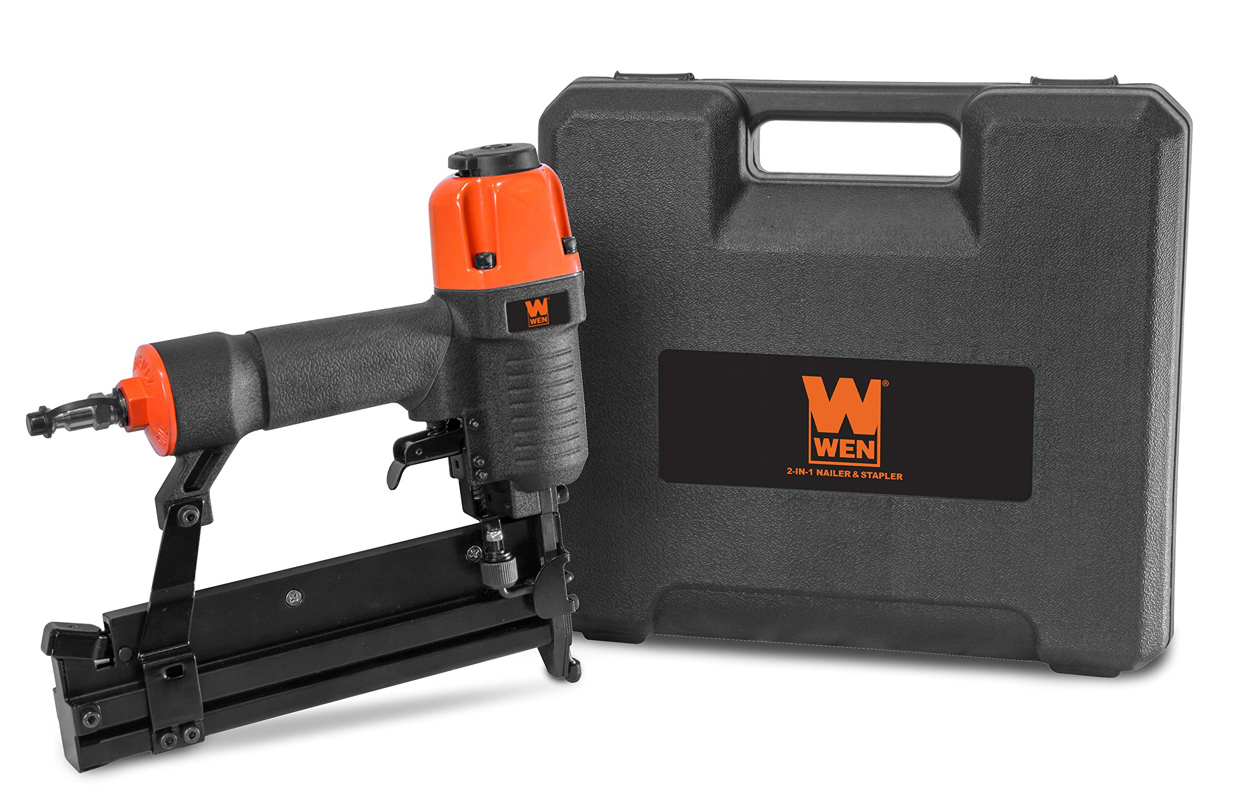 WEN 61718 18 Gauge 2'' 2-in-1 Pneumatic Brad Nailer & Stapler with Carrying Case & Safety Glasses