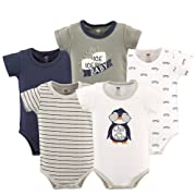 Hudson Baby Cotton Bodysuits, Chill Dude 5 Pack, 6-9 Months (9M)