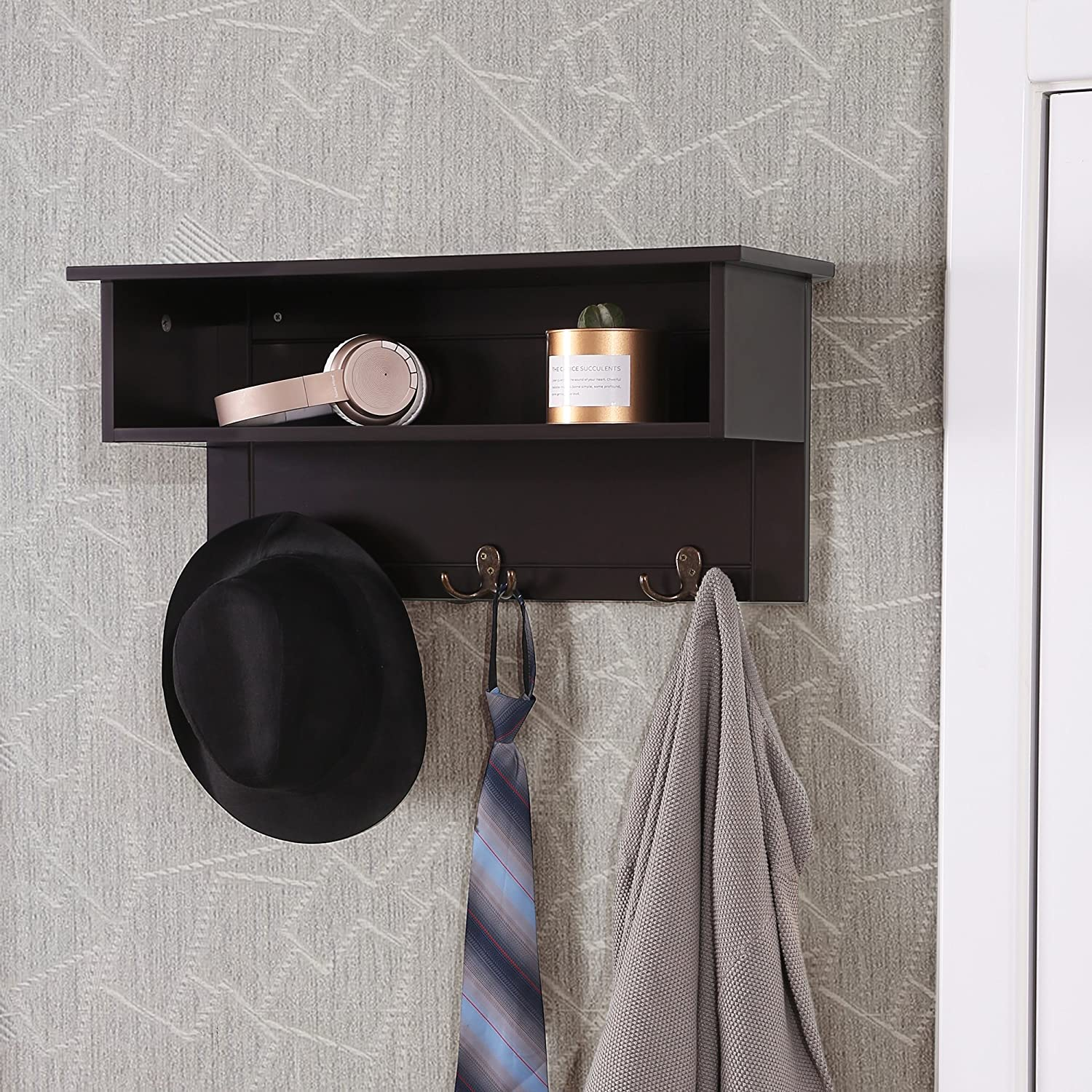 23.6 x 7.9 x 10.6 Inches Espresso ULES01BR with 3 Dual Hooks and Storage VASAGLE Wooden Entryway Hanging Shelf