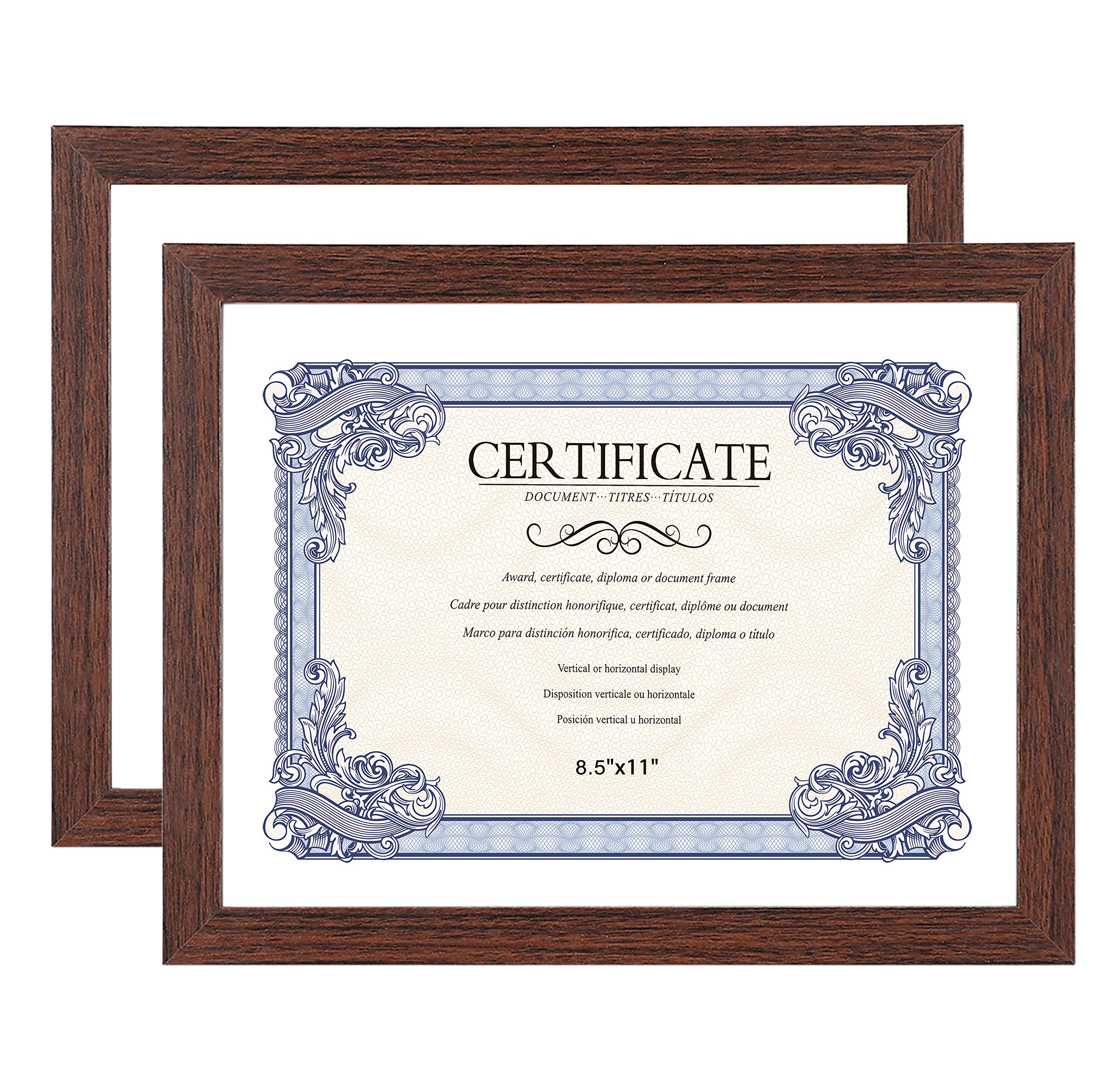 Amistad 8.5X11 Certificate Picture Frame, Document/Diploma Frame with Classic Simple Style, Wood Grain Finish, 2 Pack. by Amistad
