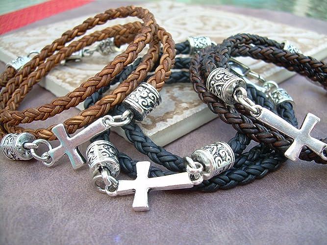Amazon Com Handmade Leather Bracelet Cross Bracelet Cross