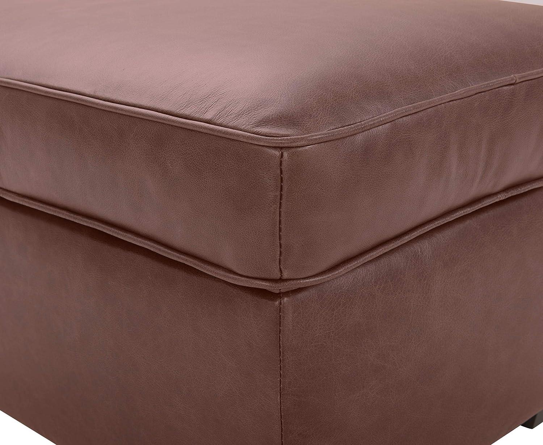 Rivet Andrews Contemporary Leather Ottoman Black 30 W