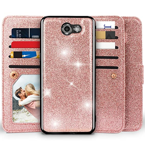 Miss Arts [Detachable] Magnetic Glitter Wallet Case, 9 Card Slots Cover for  Samsung Galaxy J3 Prime/J3 Emerge/Express Prime 2/Amp Prime 2/J3