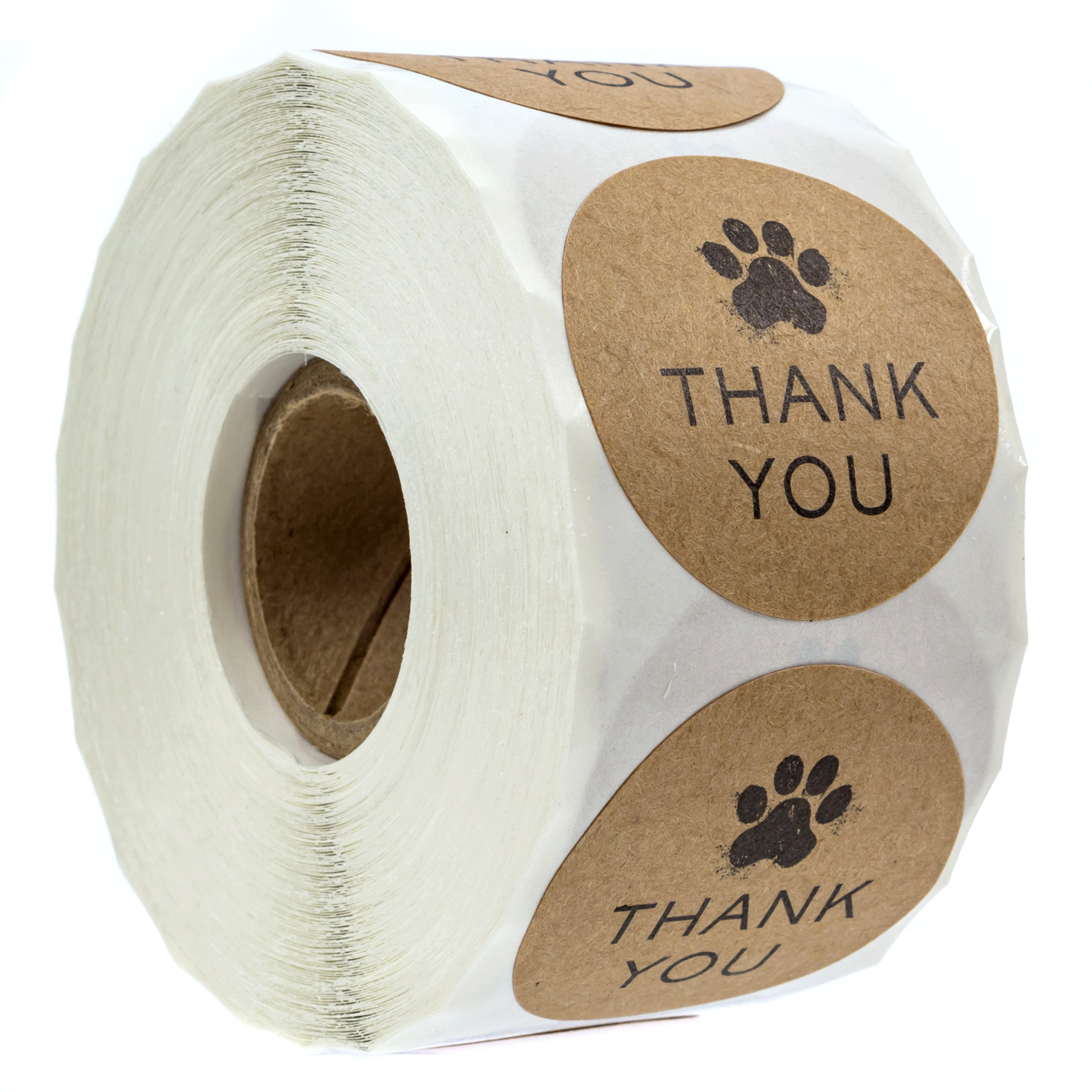 1.5'' Round Kraft Paw Print Thank You Stickers / 500 Dog Paw Print Thank You Labels per Roll