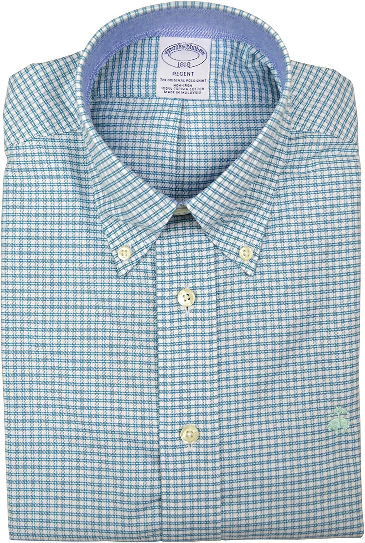 Brooks Brothers Mens Mini Plaid Regent Fit Supima Cotton Button Down Shirt Green