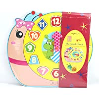 Little grin Wooden Teaching Clock Puzzle with Movable Hands - Educational & Learning Toy, Available Patterns: Snail, Panda, Teddy and Elephant for Children (Snail)