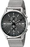 Akribos XXIV Men's Swiss Quartz Multi-function Black Sunray Dial Silver-tone Mesh Stainless Steel Bracelet Watch AK905SSB