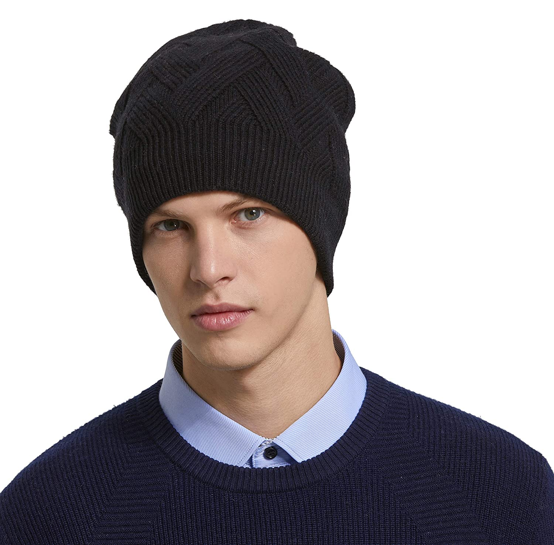 78c2f4682df RIONA Men s 100% Australian Merino Wool Knit Beanie Hat Winter Warm Skull  Caps Headwear(Black) at Amazon Men s Clothing store