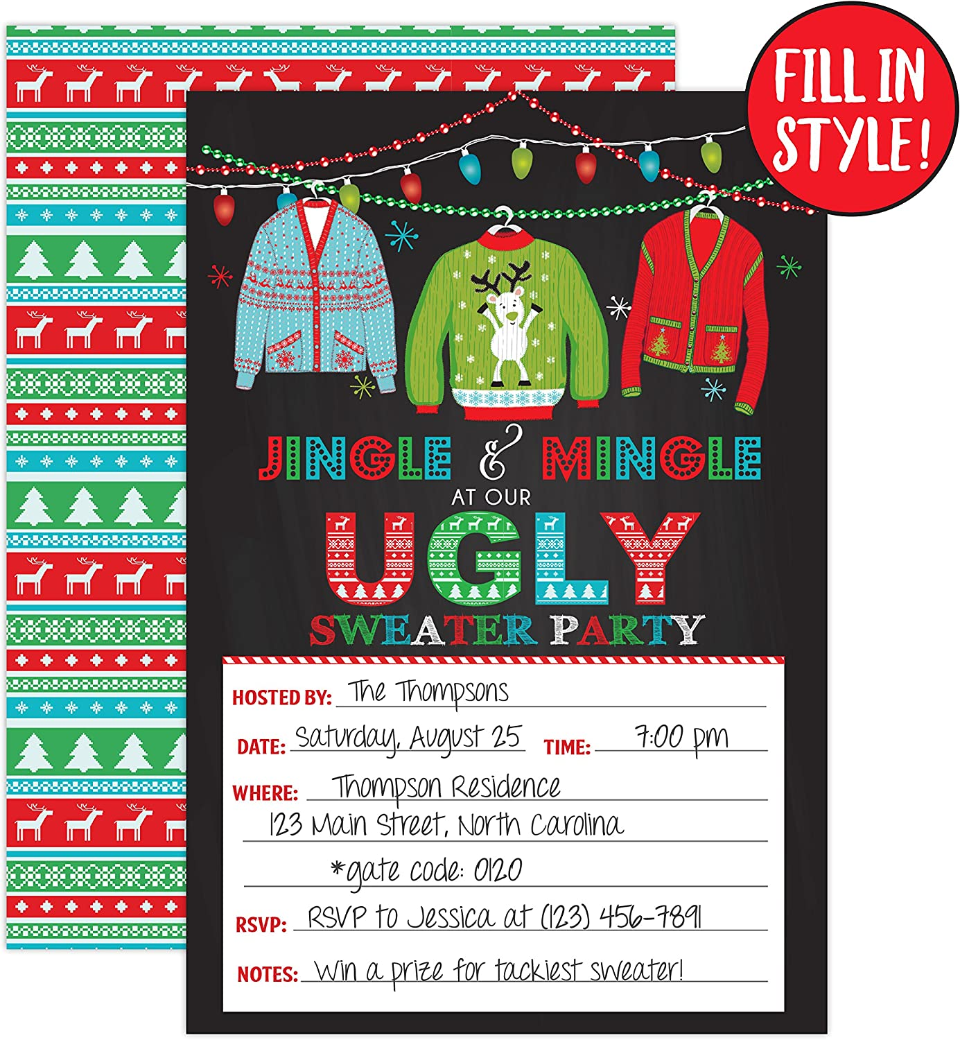 Wild and Ugly Sweater Party Stickers Tacky Sweater Stickers Holiday and Christmas Animals Party Personalized Sticker Labels 24 Ct.
