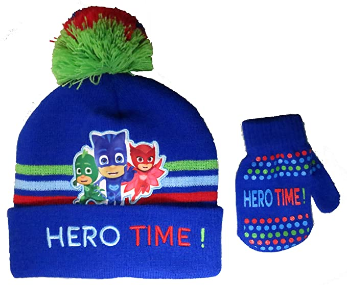Disney Toddler Boys PJ Masks Winter Beanie Hat with Pompom and Mitten Set [4014