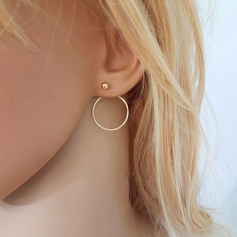 Gold Filled Circle Ear Jacket Earrings, Pair