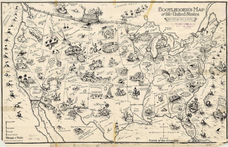 Amazon.com: Historic Map | United States | Bootleggers\' map ...
