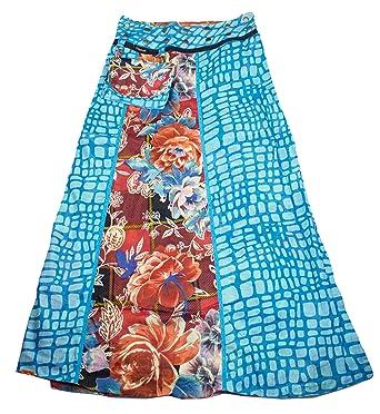 154e458e90c9 Sunsa Damen Rock Maxirock Sommerrock Wickelrock Wenderock aus Baumwolle  Zwei optisch Verschiedene Röcke mit Einem Abnehmbaren