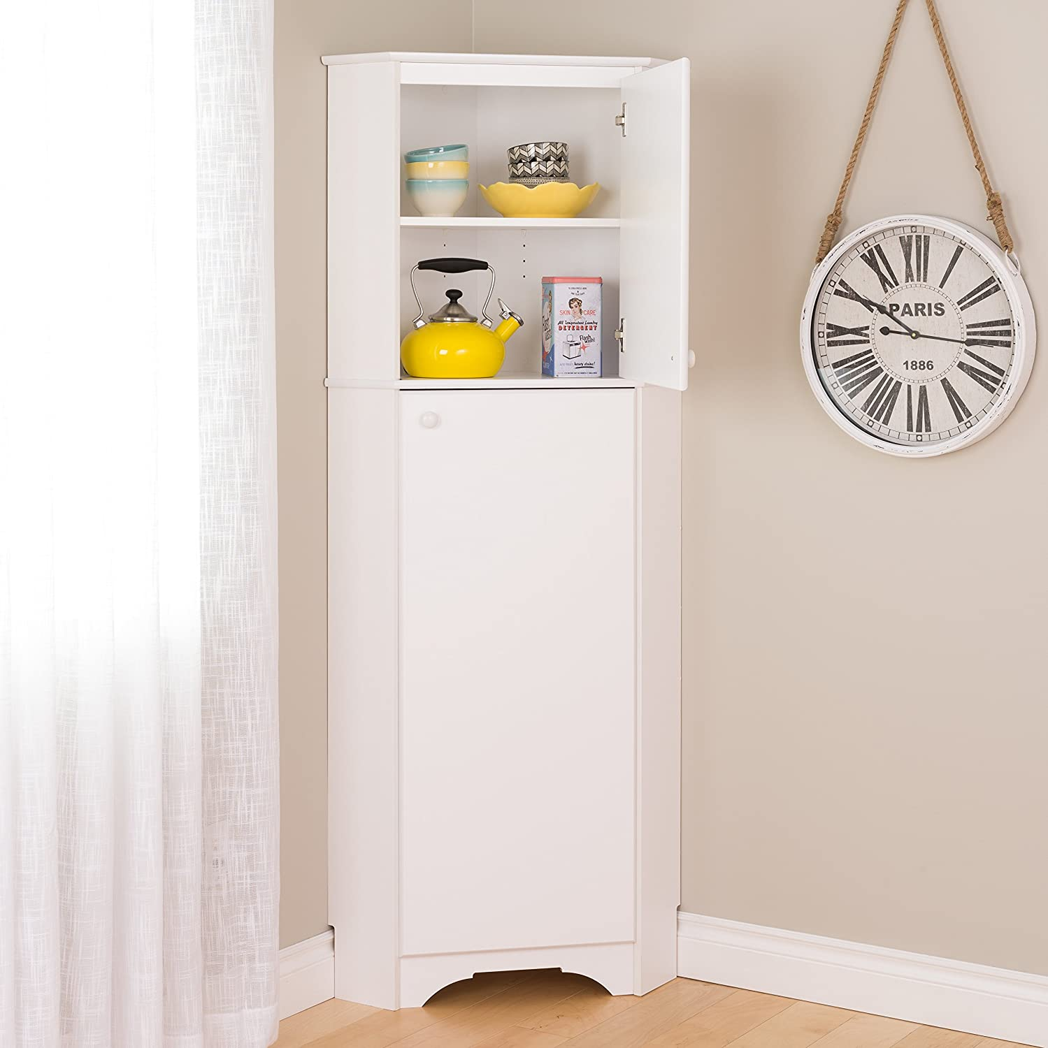 Superior Amazon.com: Prepac WSCC 0605 1 Home, Elite Tall 2 Door Corner Storage  Cabinet, White: Kitchen U0026 Dining