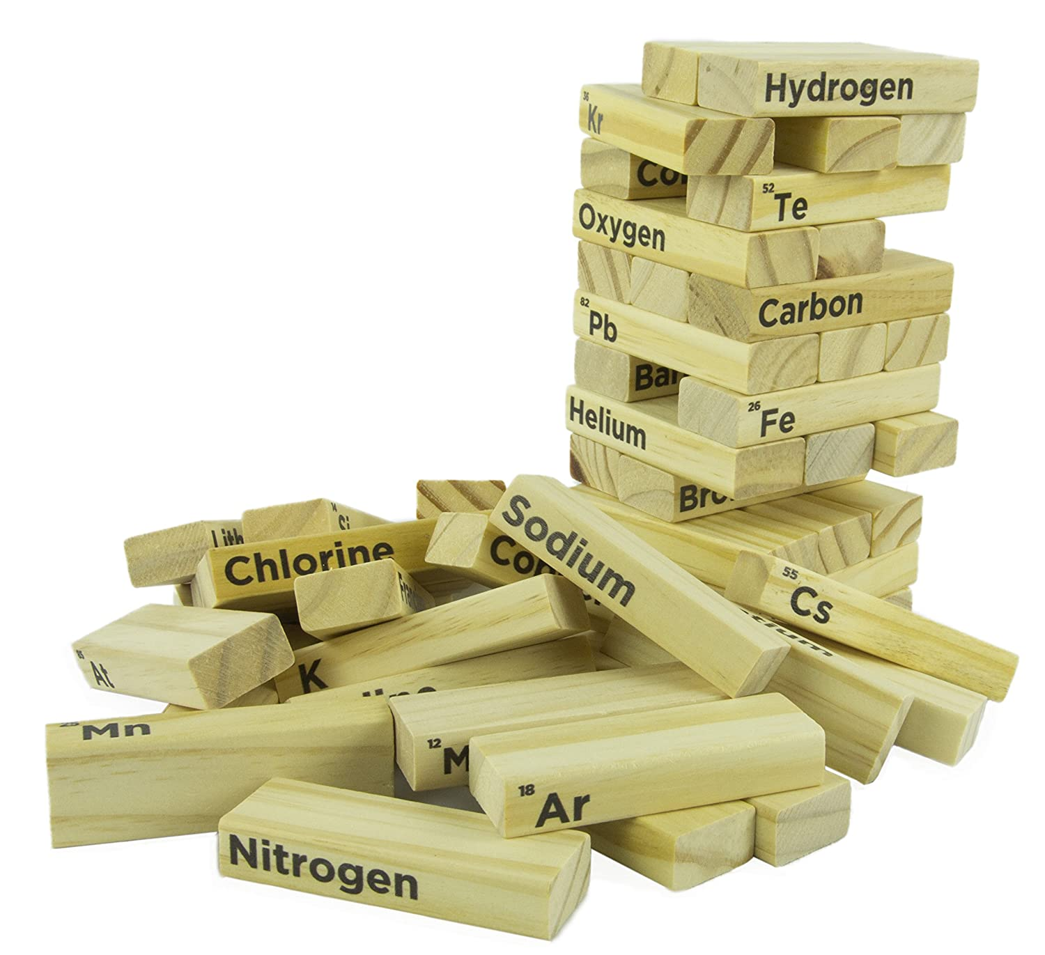 Amazon periodic table wood block tower stacking game amazon periodic table wood block tower stacking game classic game for kids adults making chemistry fun to learn 54 pieces toys games gamestrikefo Choice Image