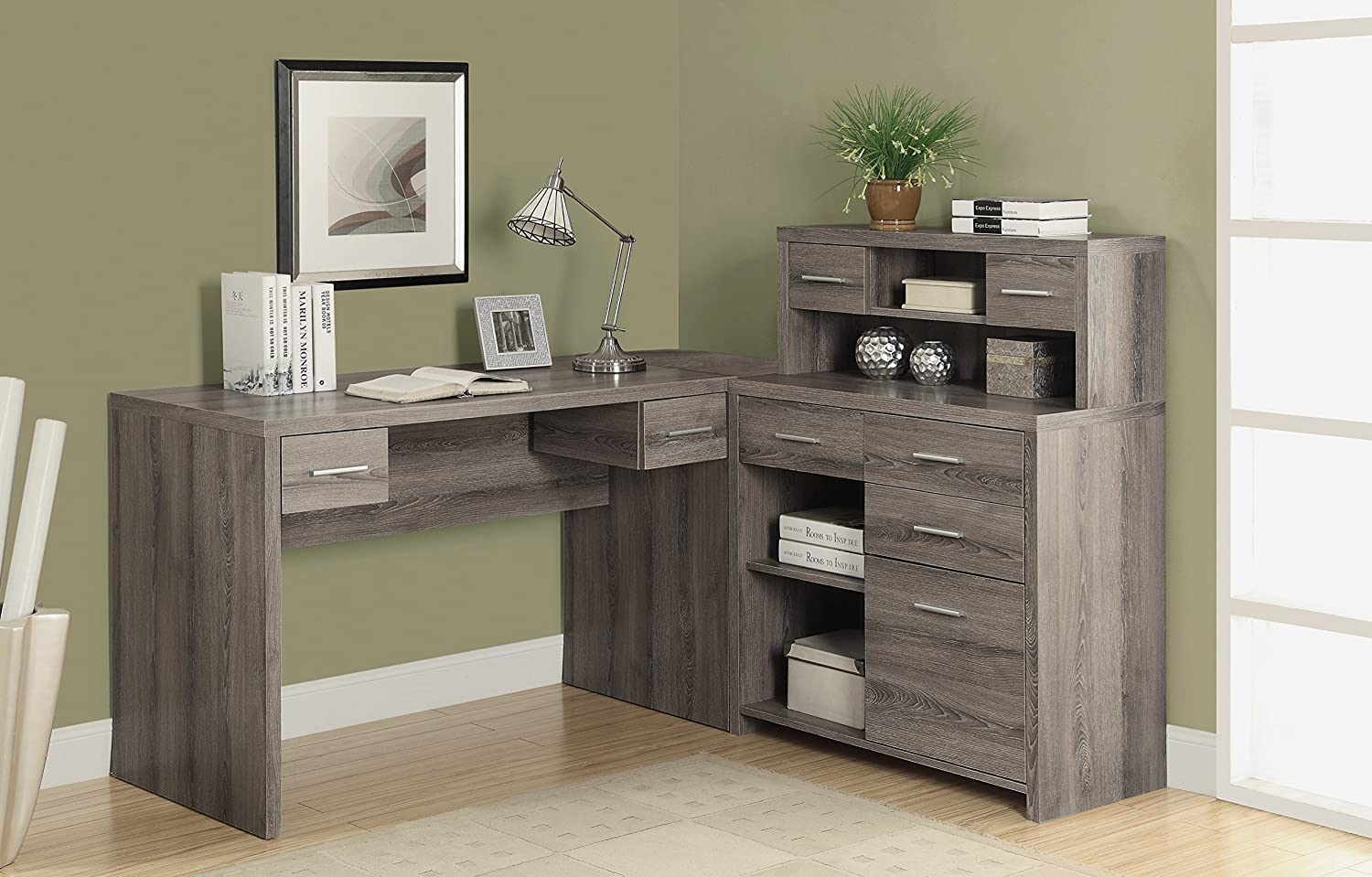Amazoncom Monarch ReclaimedLook L Shaped Home Office Desk Dark