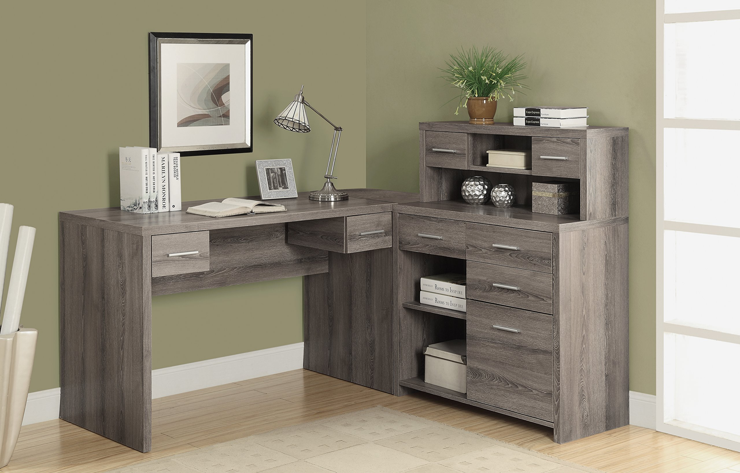 Monarch Reclaimed-Look ''L'' Shaped Home Office Desk, Dark Taupe