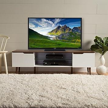 Amazon Com Reginald Mid Century Modern Tv Stand White With Walnut